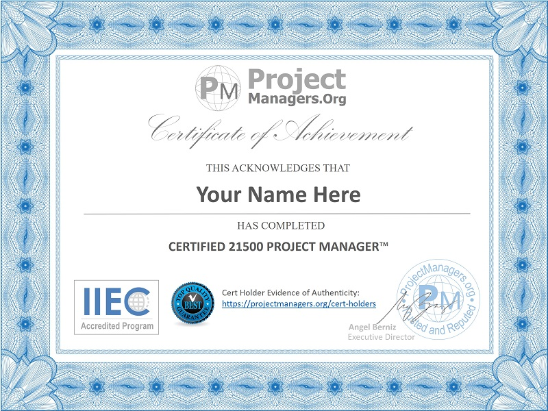 Certified 21500 Project Manager™ Certification Assignment