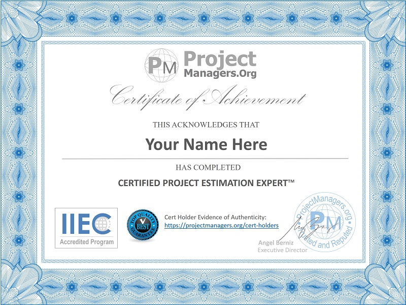 Certified Project Estimation Expert™ Certification Assignment