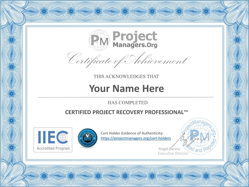 Certified Project Recovery Professional™ Certification Assignment